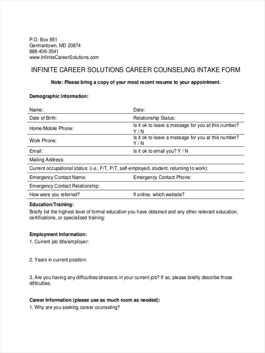 employee intake form