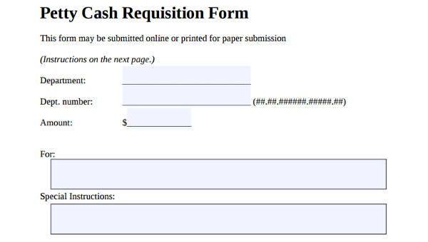 7+ Petty Cash Requisition Form Samples - Free Sample, Example Format