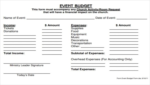 5+ Church Budget Form Sample - Free Sample, Example Format Download