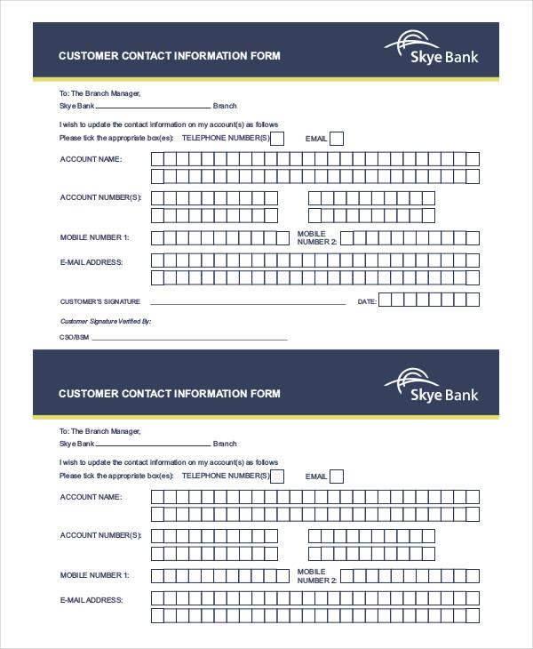 customer contact information form - Pinarkubkireklamowe