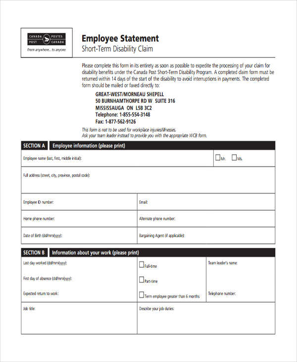 23+ Employee Statement Form Template