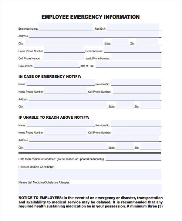 employee emergency information form - Juvecenitdelacabrera