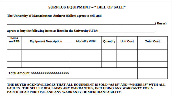 Equipment Bill of Sale Form - 6+ Free Documents in Word, PDF