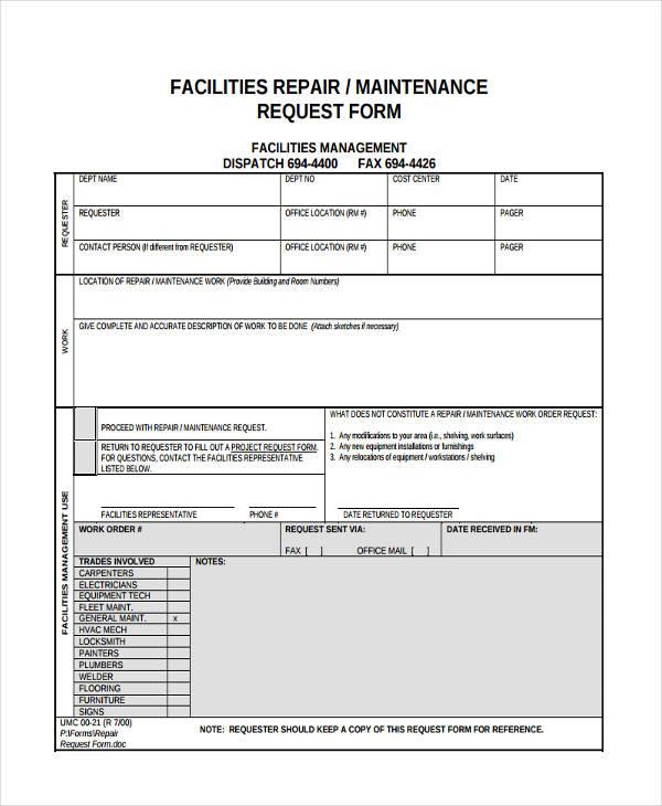 Maintenance Request Form Maintenance Request Form Templatexample Unicloud Pl