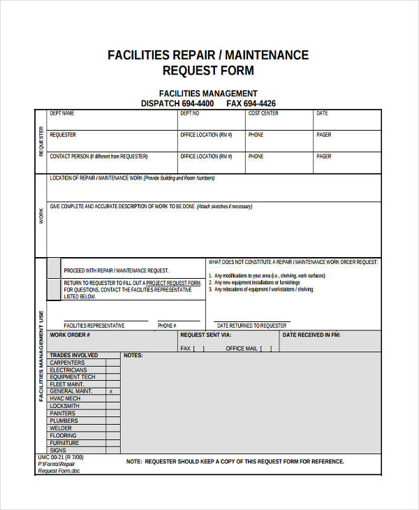 maintenance request form template