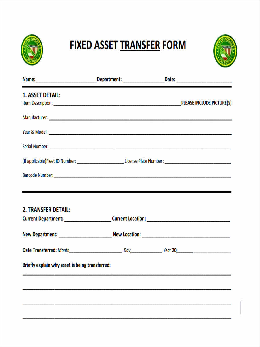 fixed asset form template