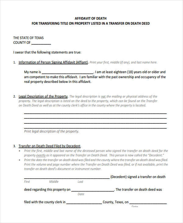 Sample Affidavit of Death Forms - 5+ Free Documents in Word, PDF - how to write a legal affidavit