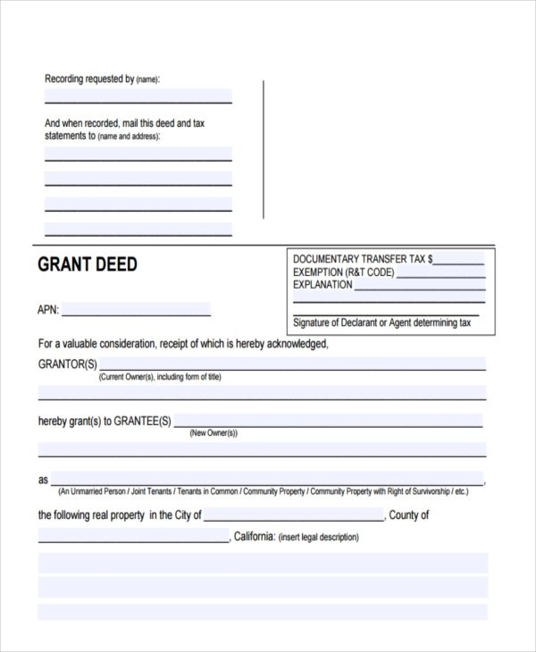 28+ Sample Deed Forms - grant deed form