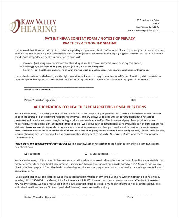 7+ Informed Consent Forms - Free Sample, Example Format Download - hipaa consent forms