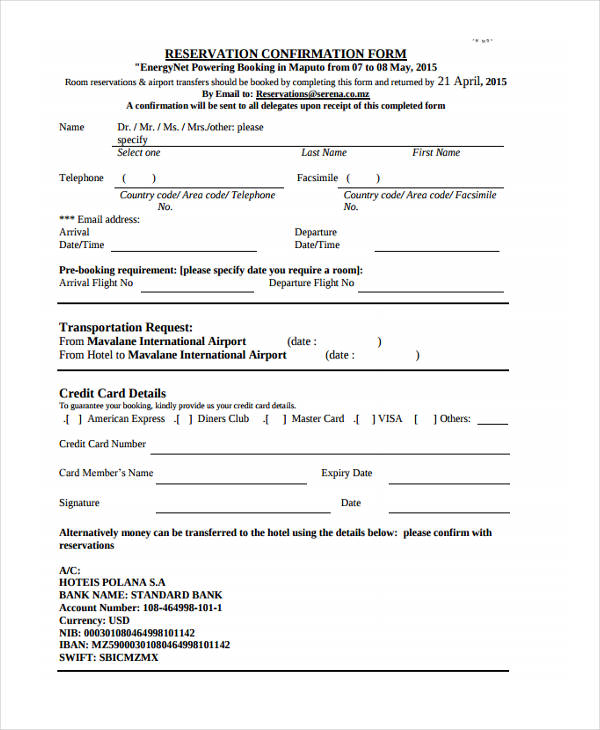 10+ Booking Confirmation Forms - Free Sample, Example Format Download