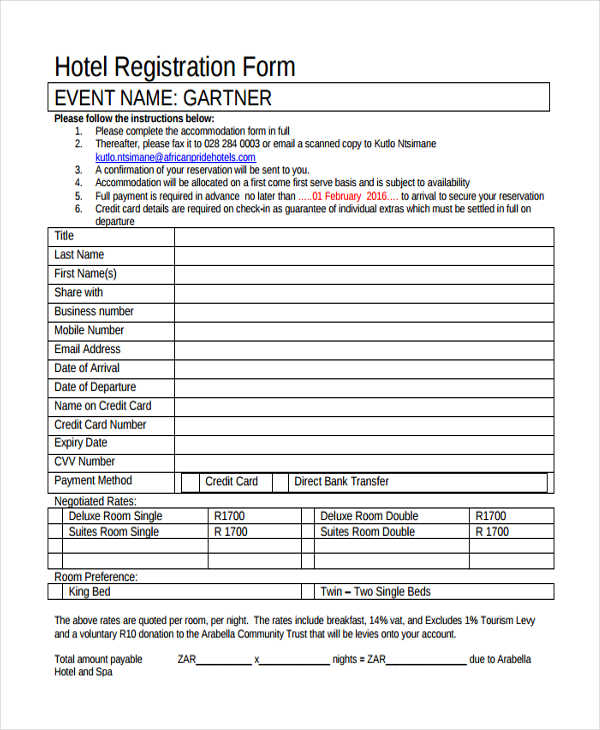 hotel guest registration form template The Worst Advices - guest check template