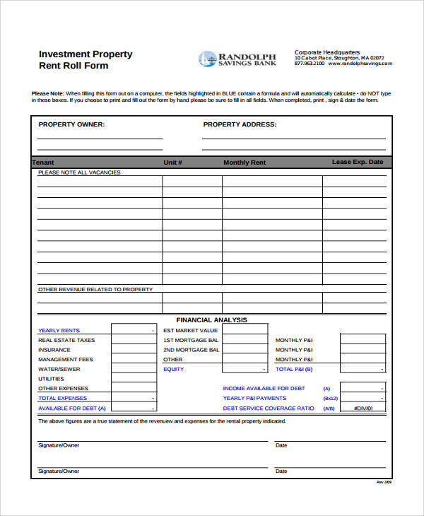 17+ Free Rent Roll Forms