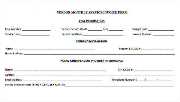 8+ Service Invoice Form Sample - Free Sample, Example Format Download