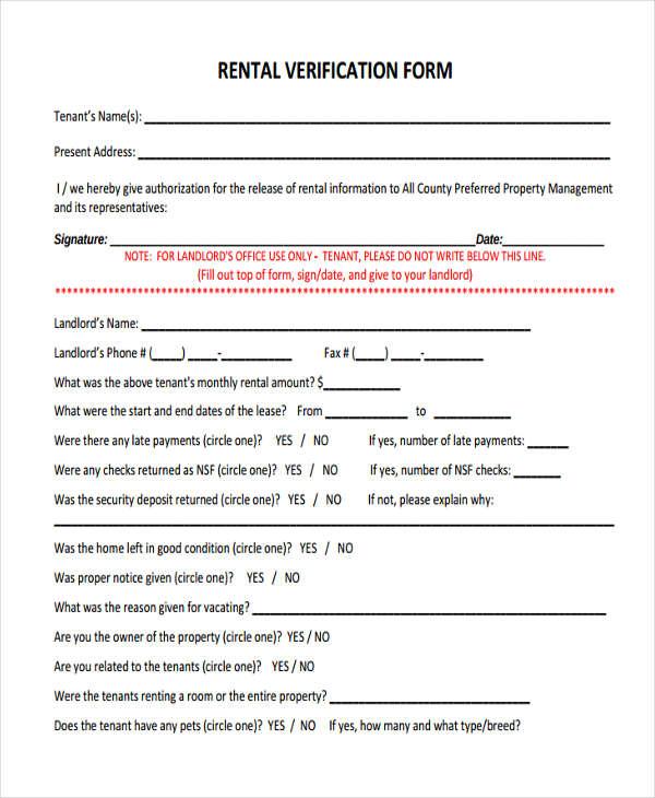 10+ Landlord Verification Form Sample - Free Sample, Example - landlord verification form