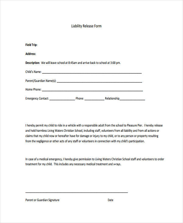 10+ Printable Liability Waiver Form Samples - Free Sample, Example - free printable release of liability form