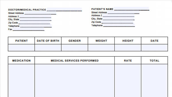 5 medical invoice form samples free sample example format download