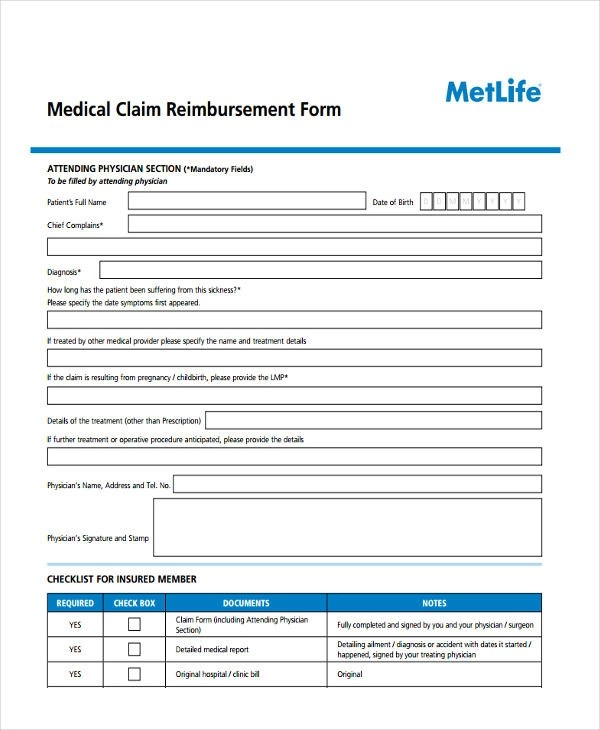 8+ Medical Reimbursement Form Sample - Free Sample, Example Format