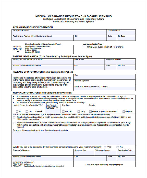 30+ Sample Clearance Forms - medical clearance forms