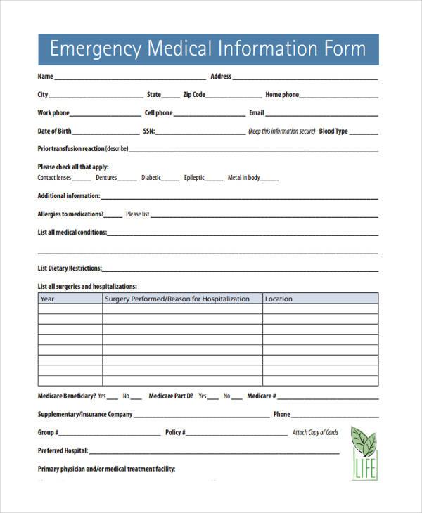 emergency info form - Roho4senses
