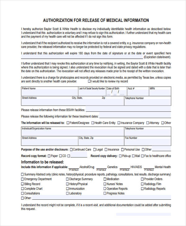16+ General Release of Information Form Templates - medical release of information form template