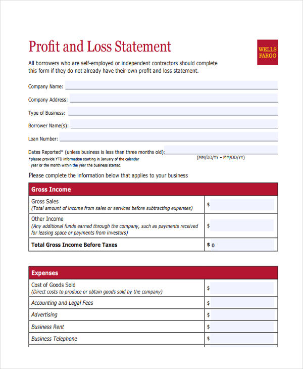 Personal Profit And Loss Statement Form sample expense statement – Profit and Loss Template for Self Employed Free