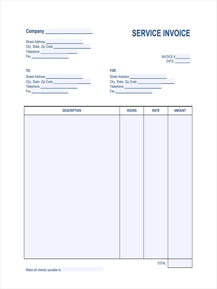 service invoice sample