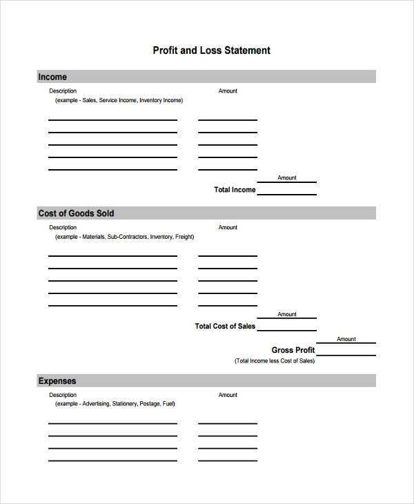 8+ Profit and Loss Statement Form Samples - Free Sample, Example - format of statement of profit and loss