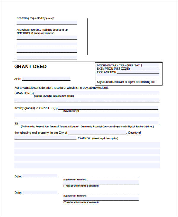 23+ Deed Forms in PDF - grant deed form