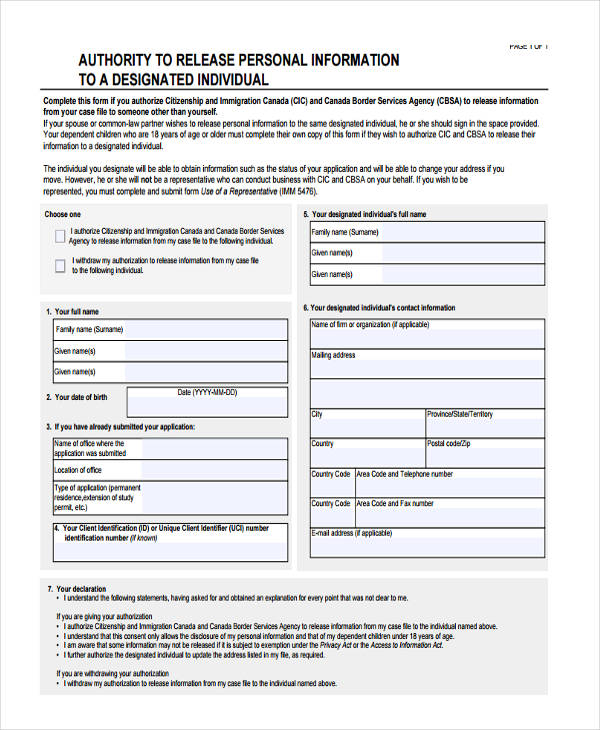 Funky Release Of Personal Information Form Picture Collection - Best