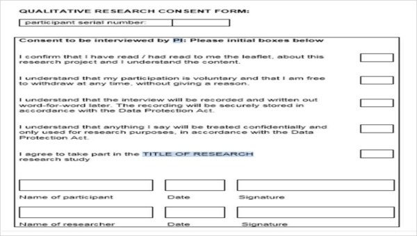 6+ Research Consent Form Sample - Free Sample, Example Format Download