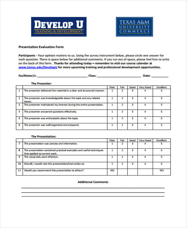 Class Evaluation Template Free Download For Pdf Sample Class - sample class evaluation