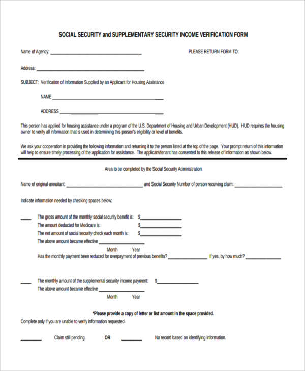 7+ Social Security Verification Form Sample - Free Sample, Example - income verification form