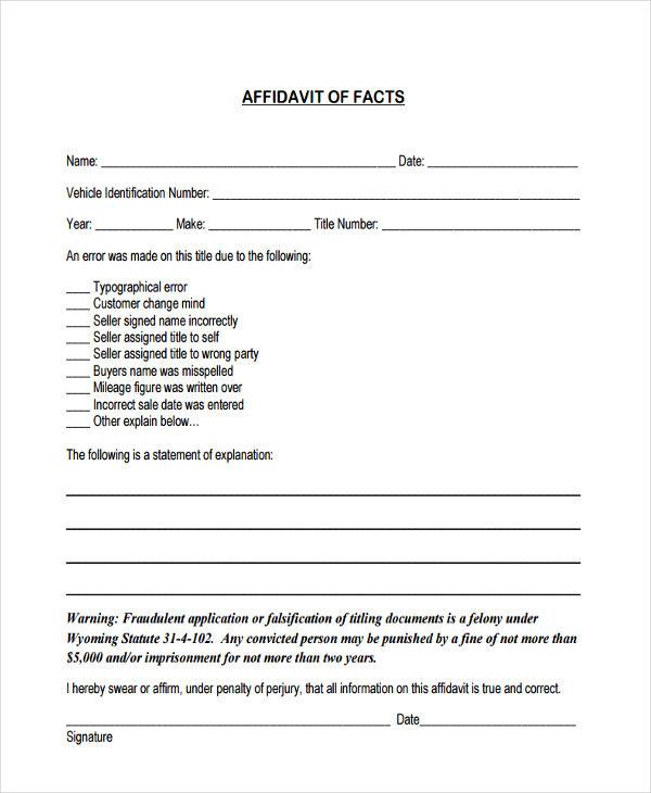 Affidavit Of Fact Form - affidavit statement of facts