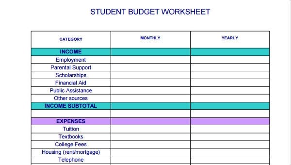 8+ Student Budget Form Sample - Free Sample, Example Format Download