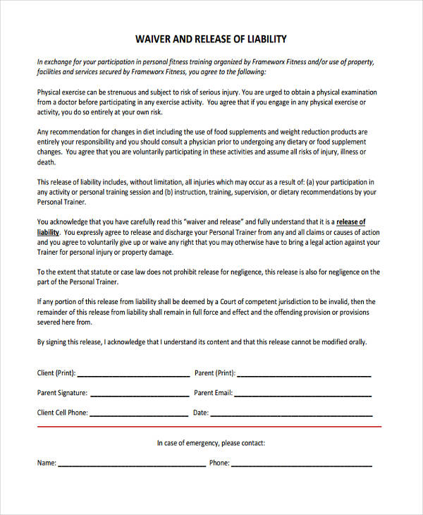 liability waiver form – Example of Liability Waiver