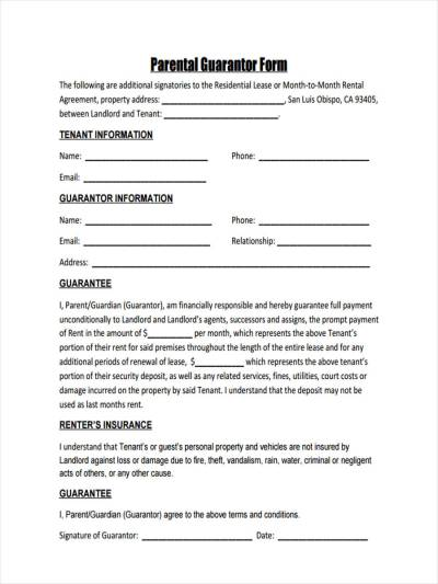 9 Guarantor Agreement Form Samples - Free Sample, Example Format Download