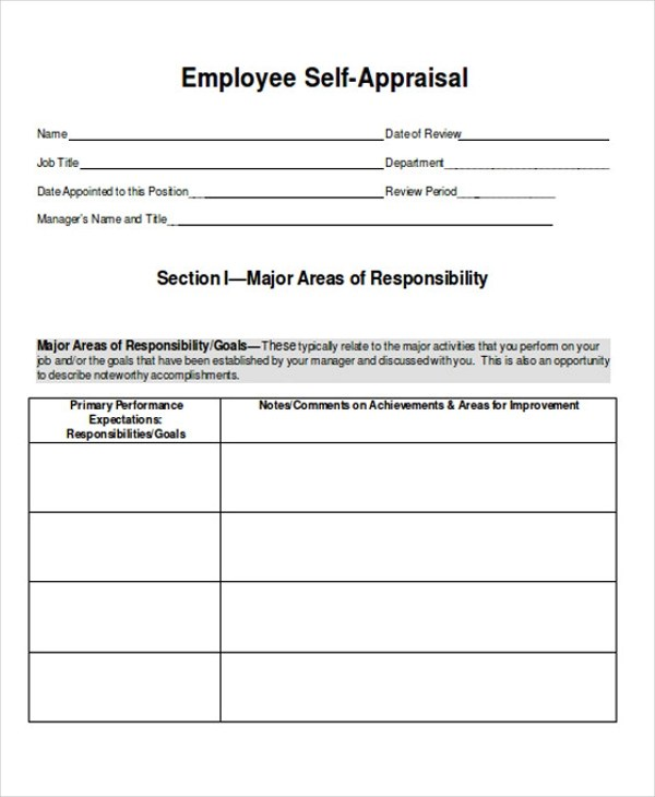 21+ Sample Self Evaluation Forms - performance self evaluation form