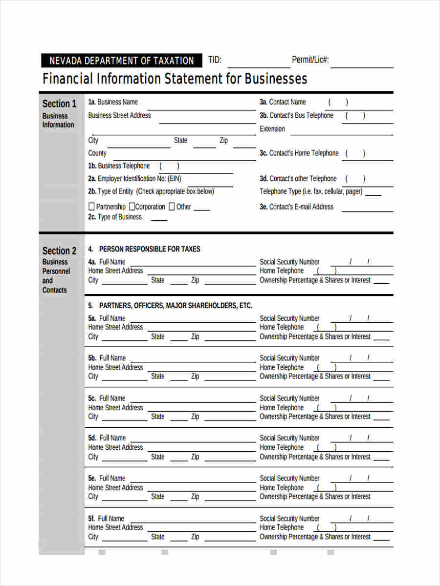 company financial statements sample