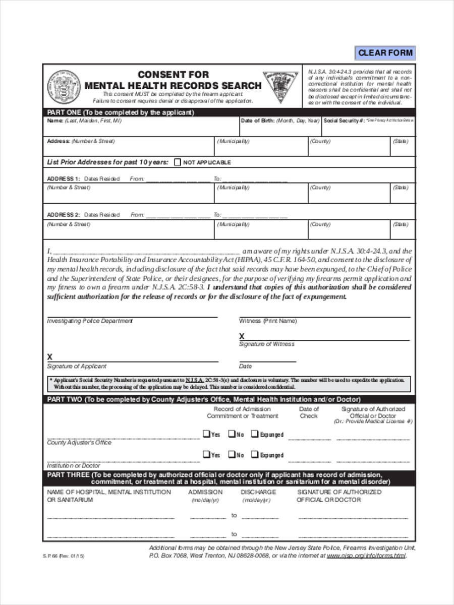 health history form template
