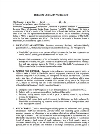 9 Guarantor Agreement Form Samples - Free Sample, Example Format Download