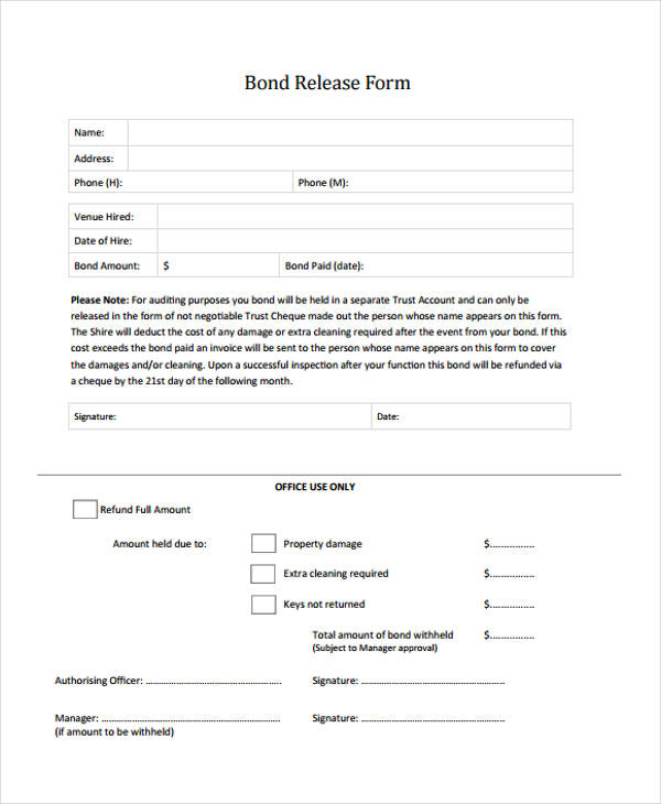 9+ Bond Release Forms - Free Sample, Example Format Download