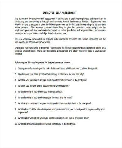 Employee Self Assessment self assessment form template employee - performance self evaluation form