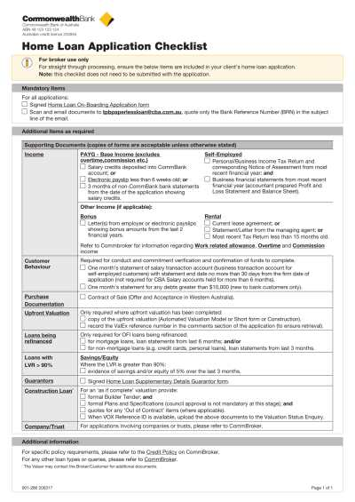 3+ Bank Loan Application Form and Checklist Form - PDF