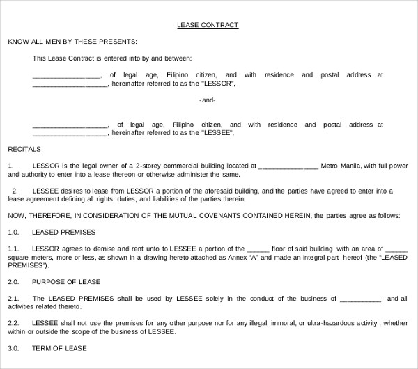 7+ Commercial Lease Contract Forms - PDF, DOC - commercial lease agreement in pdf