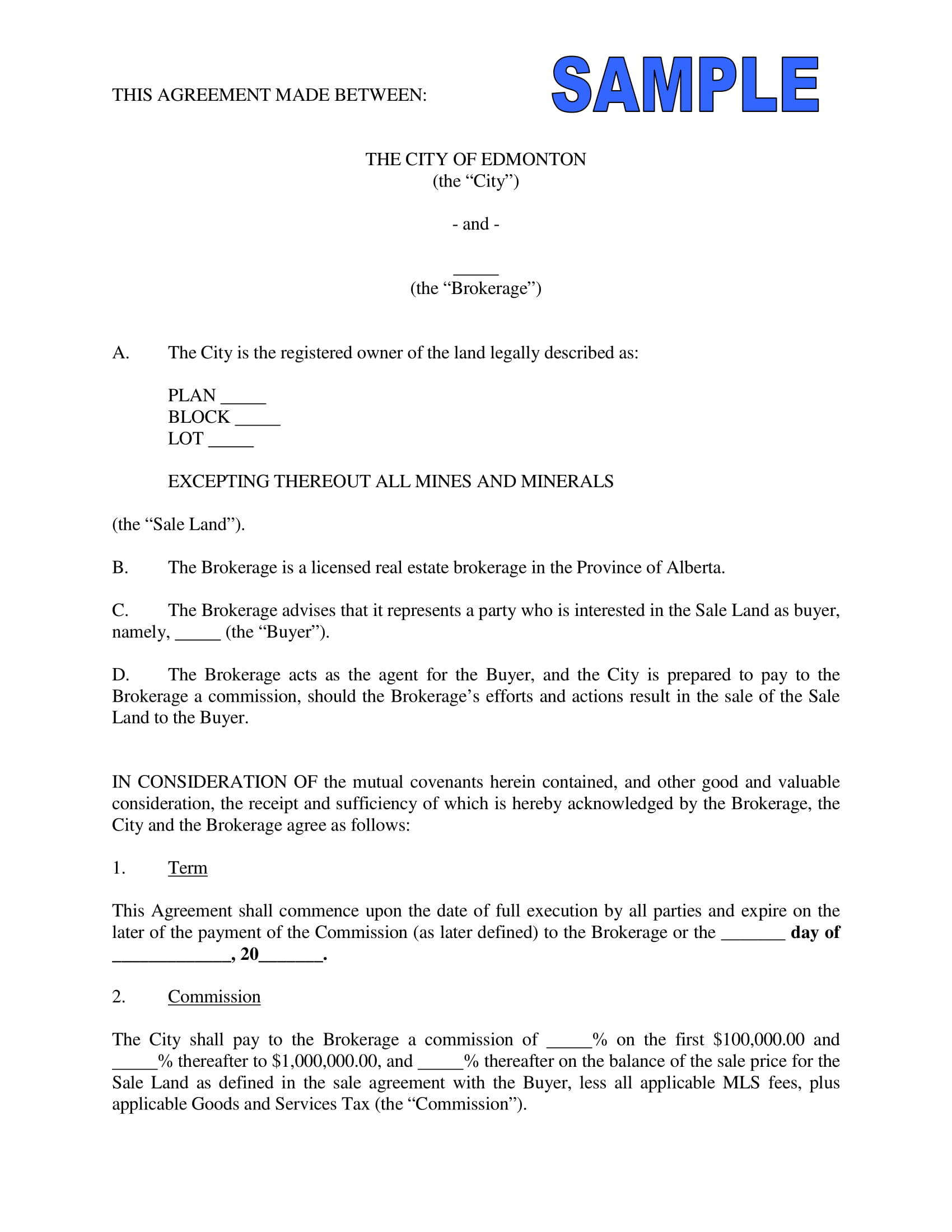 commission agreement sample