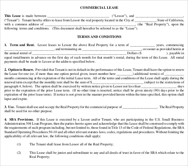 7+ Commercial Lease Contract Forms - PDF, DOC - lease contract format