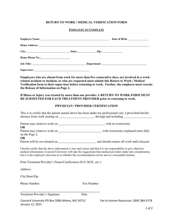 7+ Return to Work Forms - PDF, DOC - return to work medical form