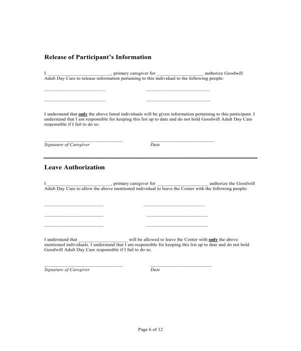 5+ Daycare Authorization Forms - PDF