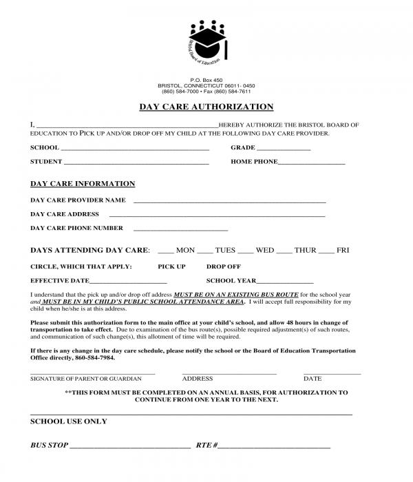 5+ Daycare Authorization Forms - PDF