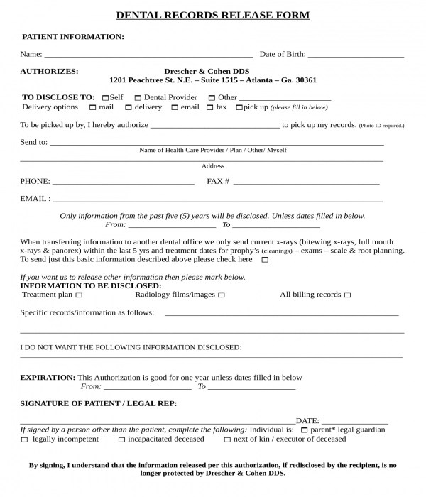 6+ Dental Records Release Forms - PDF, DOC
